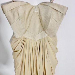 Cream chiffon Badgley Mishka strapless gown